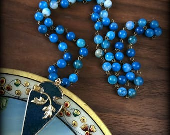 Blue Arrowhead Necklace Blue Agate Arrowhead Necklace Peace Necklace Long Bohemian Necklace Boho Festival Jewelry Blue Gold Beach Jewelry