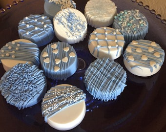 Boys Double Stuffed Chocolate Covered Oreo Cookies (1 DOZ)/Baby Shower/I'm One/Shower Treats for Boy/Thank You Boys Oreo Cookies