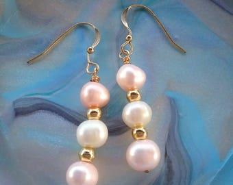 Freshwater Pearl earrings, pearl earrings, goldfilled pearl earrings, fancy pearl earrings