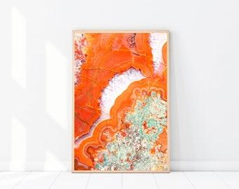Orange Agate Photography PRINT, Agate Crystal Photography, New Age Art Print, Boho, Crystals, Mineral Art Print, Boho Wall Art, Orange Decor