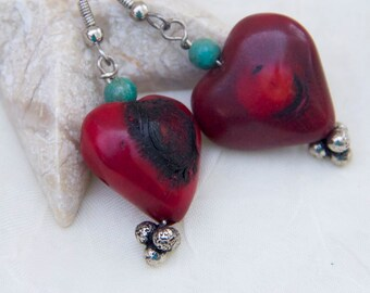 Earrings red coral hearts and turquoise beads mother's day romantic love