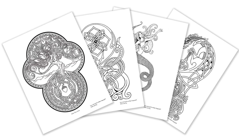Celtic Fantasy Adult Coloring Pages Digital Download Tree