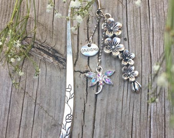 Silver Flower Crystal Dragonfly Grandma Mom Bookmark