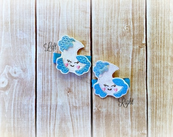 Moon clip Moon and Clouds hair clippie cutie Smiley Clip  Pick one or two. Pick Left side or Right.