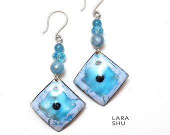 Earrings with aquamarine blu hot enamel