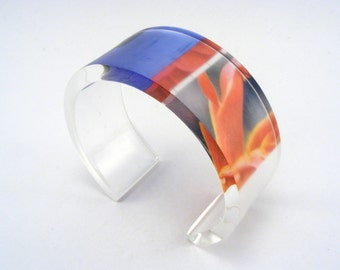 Collage Flower bangle Medium cuff Blue and Red