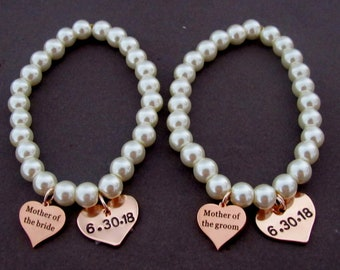 Personalized Bracelet with name, date for the maid of honor,Wedding date personlized bracelet,Gift for Mother of the groom,Free shipping USA