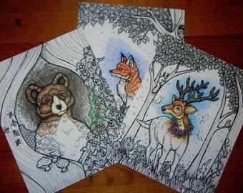 Set of Three Woodland DIY Art - Printable Adult Coloring Pages - Digital Download