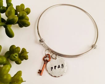 Pray adjustable bangle bracelet