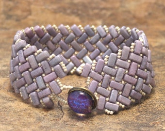 Handmade Brick Herringbone Cuff in Shades of Purple