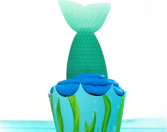 Under the Sea Mermaid cupcake wrapper and Toppers Editable