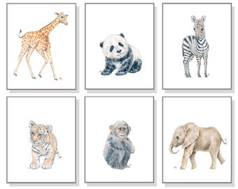 Zoo Animal Art Zoo Nursery Prints Whimsical Nursery Art Boy Room Painting Girl Room Decor Elephant Giraffe Zebra Tiger Monkey Panda Set 6