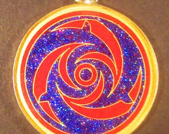 Dolphins Crop Circle Gemstone Pendant