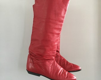 Free US Shipping | Vintage 80s Red Faux Leather / Vegan Leather Slouchy Pointy Toe Boots | US 6