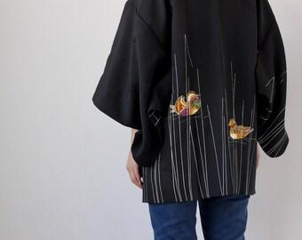 bird kimono, haori, Japanese kimono, silk kimono, Japanese clothing, oriental clothing /3165