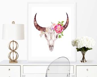 flower skull print, floral skull print, boho wall art,boho skull print,bull skull wall art,longhorn skull print,boho skull decor,skull decor