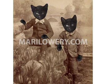 Black Cat Art, Cats in Clothes Art Print, Twin Brothers Art, Halloween Decor, 5x7 Print, Animals in Clothes, frighten