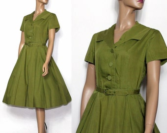 Vintage Dress //1950s//Olive Green//Full Skirt//Party Dress//Matching Belt//Shirt Waist Dress