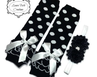 Black Polka Dot Leggings, Infant Leg Warmer, Baby Leggings, Black Dot Leg Warmer and Headband Set, Baby Headband, Black & White Leg Warmers