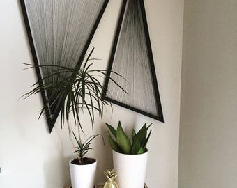 Made to Order, Black Triangles with fibers, set of 2, Wall Hanging