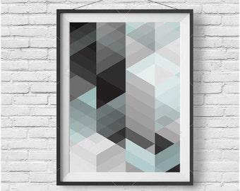 Abstract Printable Wall Art Geometric Print Scandinavian Art Scandinavian Print Geometric Art Light Blue Print Gray Print Modern Art