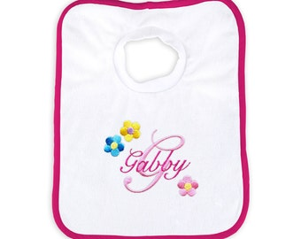 Personalized Baby Girl Bib with Flowers and Initial