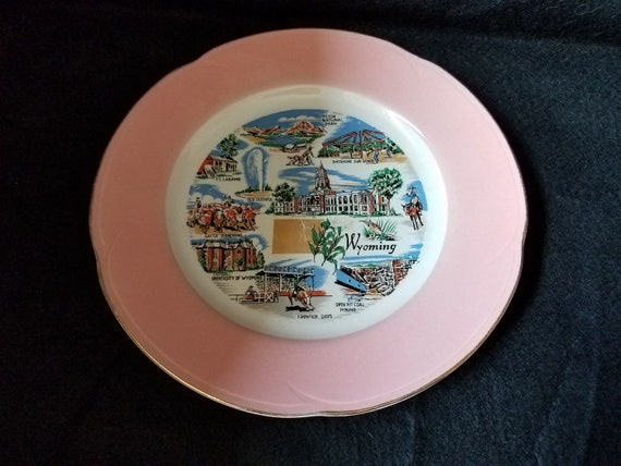 1950s Pink Wyoming Souvenir Plate