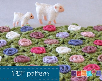 Crochet Pattern Blanket , Prop Blanket , PDF Baby Afghan , Step by Step Photo Tutorial , Instant Download , Baby Shower,  Newborn Photo Prop