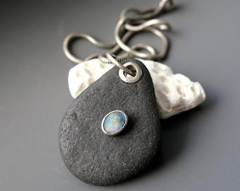 SALE River Rock Opal Pendant