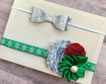 Christmas headbands, Christmas bows, silver bows, baby bows, newborn bows, baby headbands, newborn headbands, holiday bows