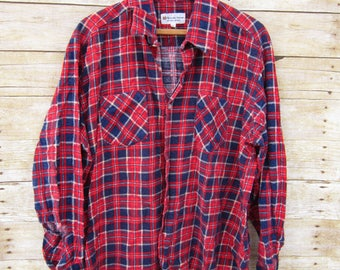 Vintage Flannel -  Blue and Red Flannel -Indie - Retro - Grunge - Button Front-Destroyed Flannel Plaid- Hip hop - Size XL