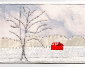 Red Barn in the Snow Quilted Fabric Postcard