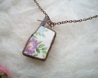 Broken China Necklace Purple Floral Bouquet Recycled Broken Plates and Cups Handmade Bezel and Copper Chain, Purple Flower Bloom