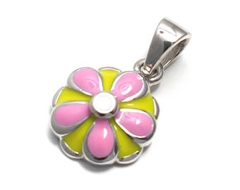 Pink flower pendant in 925 sterling silver
