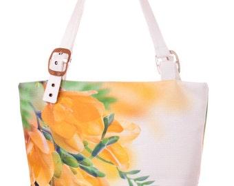 Magnolia print bag Magnolia handbag Summer fabric bag Floral tote bag Fabric tote bag White tote bag Floral handbag Christmas gift for women