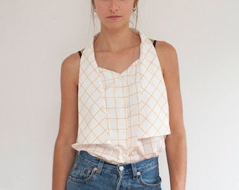 Graph paper tank - silky sleeveless white orange grid top - M