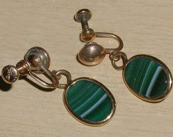 Vintage 1950's Signed 12KT Gold Filled AMCO Green and White Banded Agate Art Deco Revival Dangle Earrings