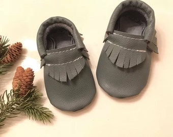Baby Moccasins, Gray Leather Moccasins, Gray Baby shoes