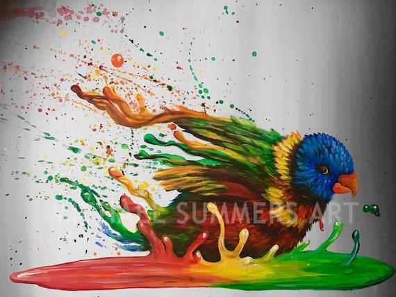 Birdbath Bird Illustration Pop Art Print Surrealism