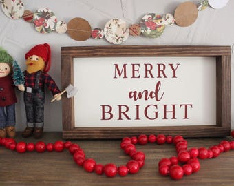 Merry & Bright Sign | Christmas Decor | Farmhouse Style Sign | Rustic Wooden Sign | Christmas Sign