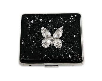 8 Day Pill Box with Individual Compartments Art Nouveau Butterfly Inlaid in Hand Painted Black Enamel with Silver Splash Personalized Option