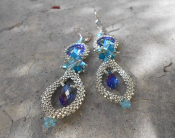 "Pearl and Crystal woven earrings ""Agathe"""