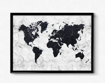 Marble map etsy marble world map poster black and white marble art map art poster home gumiabroncs Image collections