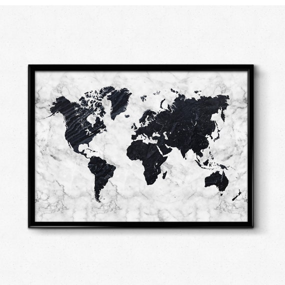 marble world map poster black and white marble art map art