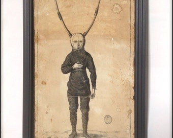 Weird illustration of a horned man! Hand aged, framed reproduction.