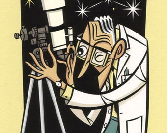 Astroman, high quality print in mid-century cartoon style of an astronomer observing the universe through a telescope.