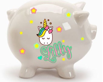 Personalized Ceramic Piggy Bank, Kids Piggy Bank, Baby Shower Gift, Birthday Gift, Piggy Bank, Baby Shower, Baby Boy, Baby Girl