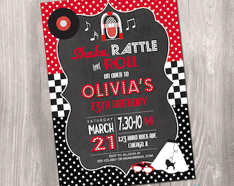 1950s sock hop invitation retro invitation 1950sbirthday