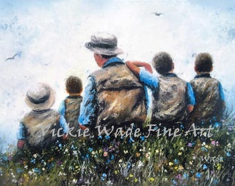 Father and Four Sons Art Print, dad, four boys, four brothers, father paintings, wall art from original oil painting, Vickie Wade Art