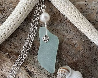 """Handmade in Hawaii, Genuine surf tumbled """"March Birthstone"""" aqua sea glass necklace. wire wrapped sea glass necklace, freshwater pearl"""